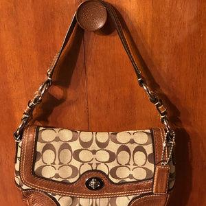 Coach Soho Signature Mini Hobo Handbag Brn Leather